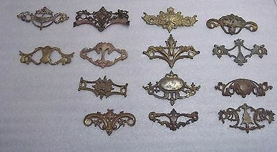 "14 Cast Antique Back Plates, Salvaged Hardware 3"" Mounting Ceters"
