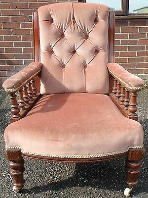 Victorian antique solid mahogany pink upholstered buttonback library armchair