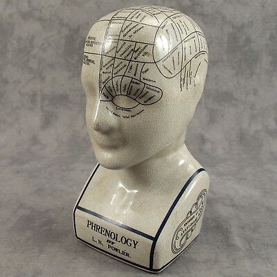 "PORCELAIN PHRENOLOGY 9"" BUST HEAD by L.N. FOWLER  ~SCIENCE OF PSYCHOLOGY ~"
