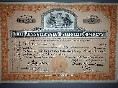 1950's Pennsylvania Railroad Company stock certificate 2 horse PA state seal