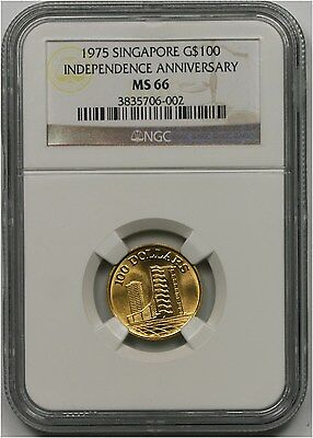 1975 Singapore Independence Anniversary Gold 100 Dollars G$100 MS 66 NGC