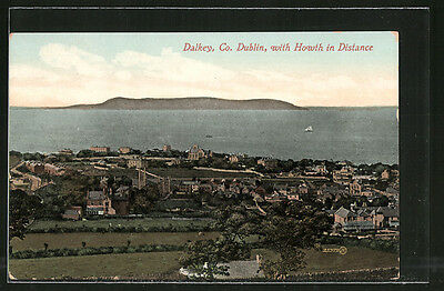 alte AK Dalkey, Panorama with Howth in Distance