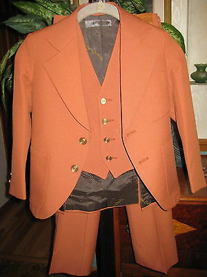 VINTAGE 1970s PIERRE CARDIN BOYS SUIT-RUST COLOR-JACKET-VEST-TROUSERS-SMALL