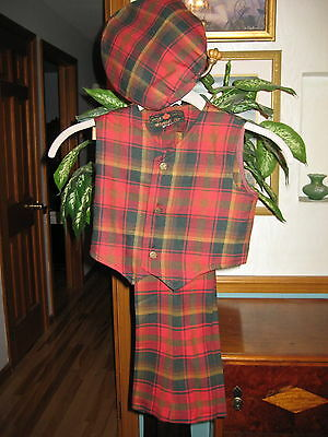VINTAGE 1960s YOUNG GIRLS OR BOYS TARTAN PLAID MATCHING SET-VEST-TROUSERS-BERET