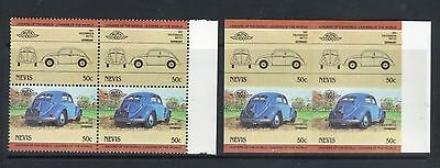 NEVIS 1984 LEADERS OF THE WORLD AUTOMOBILE CARS 50c PERF & IMPERF BLOCK OF 4 MNH
