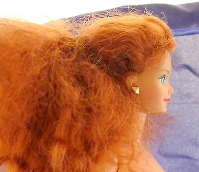Vintage Nude Midge Doll Red Curly Hair Barbie Friend w Earrings and Ring.