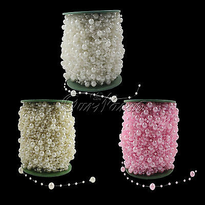 10M Mixed Size Fishing Line Pearls Chain Beads Garland Wedding Decor Flower Hot