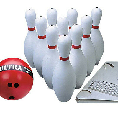 Ten Pin Bowling Set with 1.2kg Ball  -- Full Size Pins with Rubber Ball
