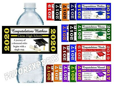 20 GRADUATION WATER BOTTLE LABELS FOR PARTY FAVORS - Glossy - Waterproof Ink