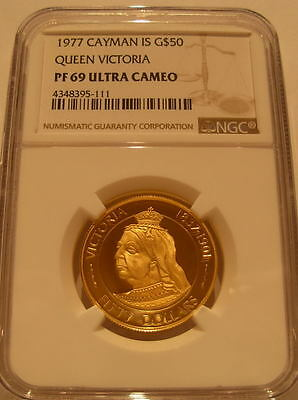 Cayman Islands 1977 Gold $50 NGC PF-69UC Queen Victoria