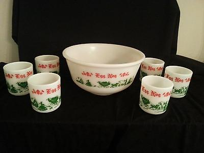 Vtg Hazel Atlas Milk Glass Holiday Egg Nog Bowl With 6 Cups Colonial Pattern