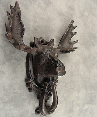 MOOSE HEAD WITH ANTLERS Cast Iron DOOR KNOCKER ~Rustic Antiqued Brown~