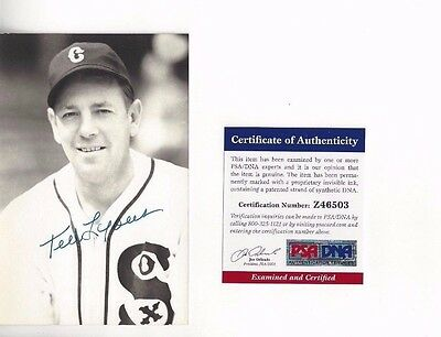 Ted Lyons Autographed Baseball Postcard Photo PSA COA Chicago White Sox Close Up