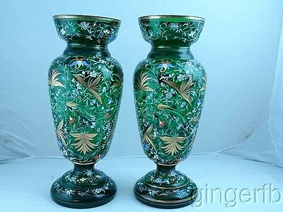 Outstanding Pair Of Monumental Emerald Green Moser Mantle Vases