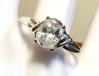 dainty ring, size 10 3/4, silver plated with faceted white stone