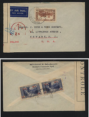 Lebanon  151 (2), C74 on censor cover 1945 to US       MS1118