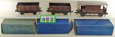 G492 Hornby Dublo 3 rail LMS wagons X 3 in boxes