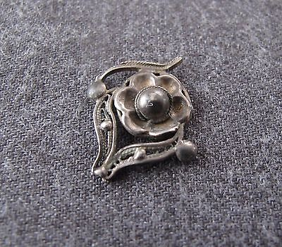 Antique Early 1900's Flower & Leaves Filigree Silver Miniature Applique