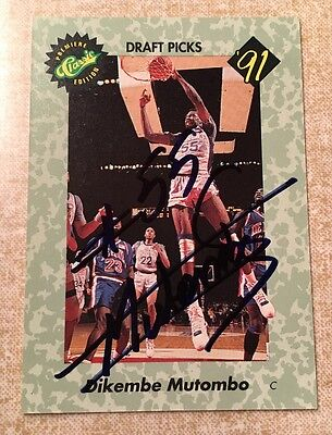 1991 Classic Draft Dikembe Mutombo Autographed Card Rare Unnumbered & Plaque