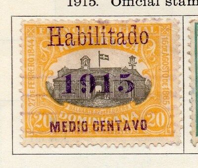 Dominican Republic 1915 Early Issue Fine Used 1/2c. Surcharged Optd 104100