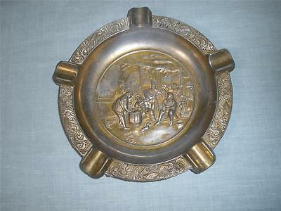 Retro Vintage Brass Coated Large Ashtray Embossed