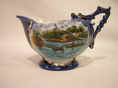"Germany Souvenir China ""The Gorge, Victoria B.C."" Cobalt Blue Creamer"