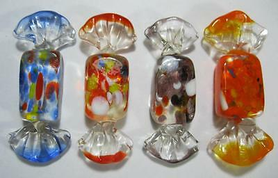 Retro/vintage 60s-70s art glass lolly/candy/sweets x 4 harlequin murano-style #3