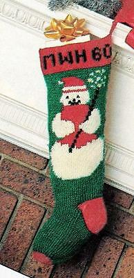 KNITTING PATTERN~Vintage OLD FASHIONED SNOWMAN CHRISTMAS STOCKING