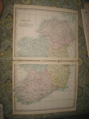 Large Superb Antique 1888 Ireland Map Railroad County Detailed Rare Fine Nr
