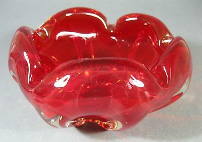 Retro/vintage 60s-70s red/clear cased art glass bowl ashtray- murano style