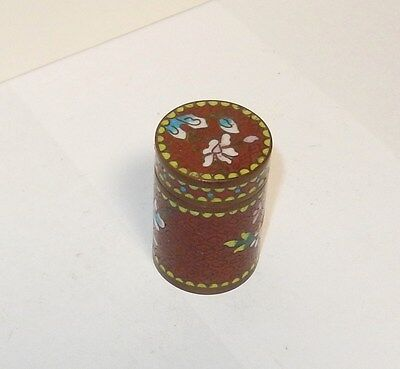 Old 19Th Century Cloisonne Floral Enamel Opium Canister Jar Box