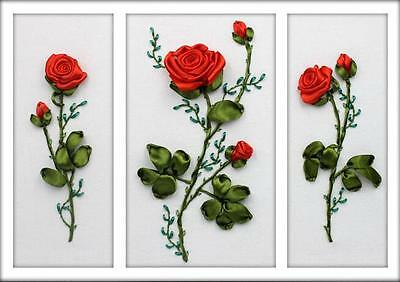 Ribbon Embroidery Kit Three Red Roses Needlework Craft Kit RE3102