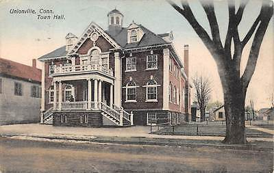 UNIONVILLE, CT ~ TOWN HALL ~ AUGUST SCHMELZER, PUB. ~ used 1909