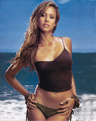 JESSICA ALBA 8x10 PHOTO PICTURE PIC HOT SEXY TINY BIKINI ON THE BEACH 344