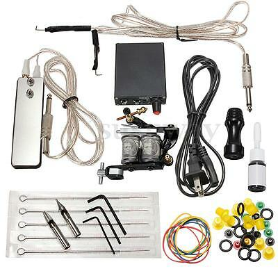 Complete Tattoo Kit Set Equipment Machines Power Supply Pedal Gun Color Cord Ink