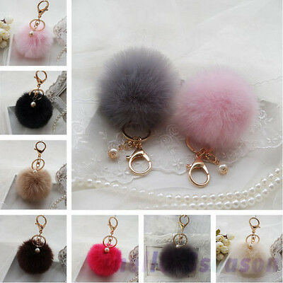 Hot Faux Rabbit Ball Fluffy Car Keychain Pendant Handbag Charm Keyring 8Cm