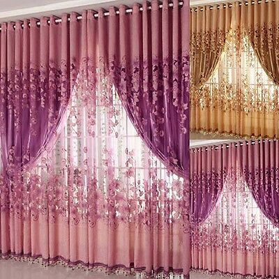 Floral Tulle Room Door Blackout Window Curtain Drape Panel Sheer Scarf Hot