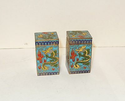 Pair Of Cloisonne Enamel Dragon Canister Snuff Jar Boxes