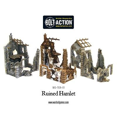 Pack Of 3 Ruined Hamlet Miniature Buildings - Warlord Games Bolt Action