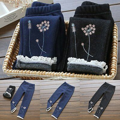 Winter Fleece Children Girls Pants Girls Kids Leggings Trousers Jeans Warm Lace