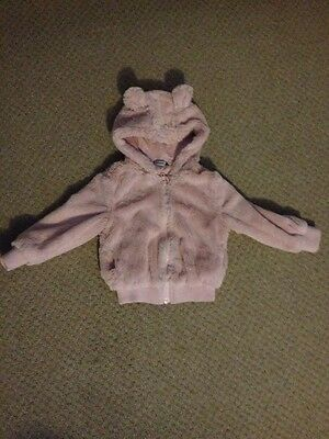 Size 1 1/2 - 2 Years Pink Fluffly George Jacket With Hood