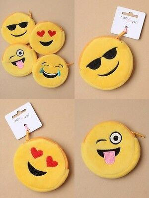 Pack Of 4 Emoji Face Design Zip Purses, Fully Lined,  : Sp-6319 Pk4