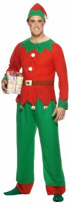 Male Santas Little Helper Red Christmas Elf Fancy Dress Costume