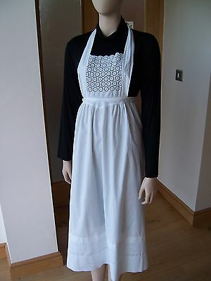 Antique Vintage White Fine Cotton Maids Apron Or Pinny With Lace Decoration