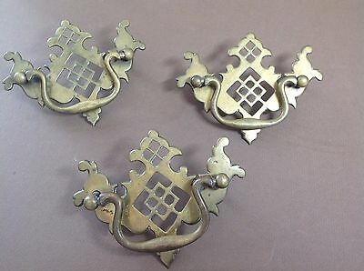 Lot 3 Antique Victorian Ornate Brass Drawer Pulls Handles Chippendale