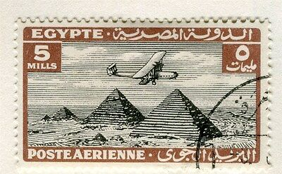 EGYPT;  1933 AIR issue Handley Page & Pyramids fine used 5m. value