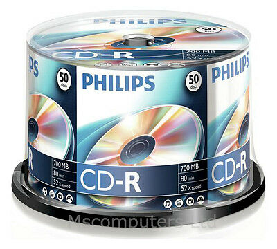 Philips CD-R 50 Pack Spindle 52x 700MB Blank CD Media Disks