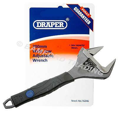 Draper Wide Jaw Adjustable Spanner Wrench Plumbers Pipe 38mm Capacity 200mm Long
