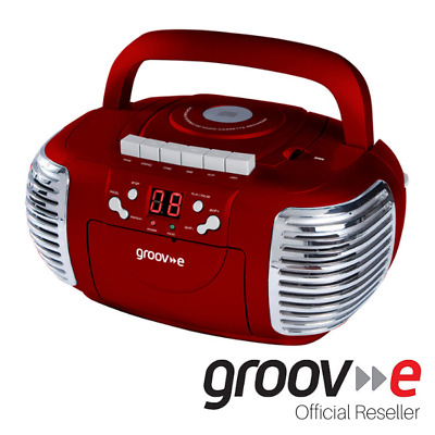 New Genuine Groov-E Retro Boombox Portable Cd Cassette And Radio Player - Red