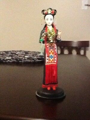 """11"""" Tall Vintage Oriental Broider Chinese Doll with Bells"""